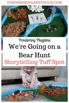 We're Going on a Bear Hunt Sensory Tuff Spot - Pondering Playtime Outside Activities For Kids, Science Activities For Kids, Toddler Learning Activities, Infant Activities, Retelling Activities, Eyfs Activities, Nursery Activities, World Book Day Activities, World Book Day Ideas