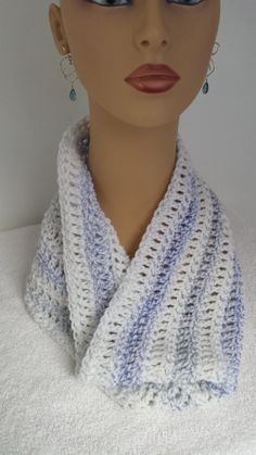 Crocheted Cowl Infinity Scarf white blue by softtotouch on Etsy, $18.00