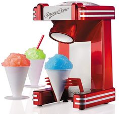 Smart Retro Single Snow Cone Maker Red Slush Machine Slushie Maker Shaved Ice M. Snow Cone Syrup, Snow Cones, Little Girl Toys, Toys For Girls, Slush Machine, Snow Cone Machine, Ice Shavers, Sugar Free Candy, Party Kit