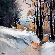 "The Snow Man #ohio #winter #snow #quiet #eternal #home #peace #poem #watercolour #watercolor #end of the year #thomaswschaller #wallacestevens ""For the listener, who listens in the snow, And nothing himself, beholds the nothing that is not there and the nothing that is. "" Wallace Stevens. ca. 1950"