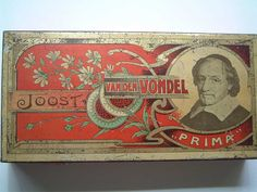 Another Old Dutch cigar Tin named Joost van den Vondel after the Dutch National Poët, type cigar Prima, Factory unknown, in my Collection and for Sale