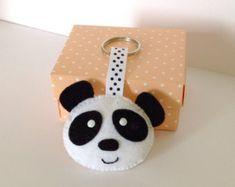Felt Keyring. Felt Keychain. Felt Panda Keychain. Panda Keyring. Soft Felt Panda. Bag Charm. Ornament. Christmas Stocking Stuffer.