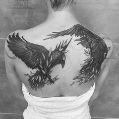 Back Tattoo Women, Back Tattoos, Body Art Tattoos, Tattoos For Women, Tatoos, Rune Tattoo, Tattoo On, Crow Tattoo Design, Tattoo Designs
