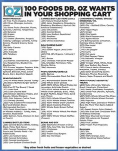 Healthy eating grocery list provided by the brilliant Dr. Oz who specializes in nutrition and a healthy diet! Get Healthy, Healthy Tips, Healthy Choices, Healthy Snacks, Healthy Recipes, Eating Healthy, Clean Eating, Easy Recipes, Budget Recipes