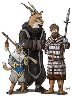 RPG Party, warrior in lamellar with boar-spear, monk, cat person soldier with rifle. http://www.stage-rpg.com