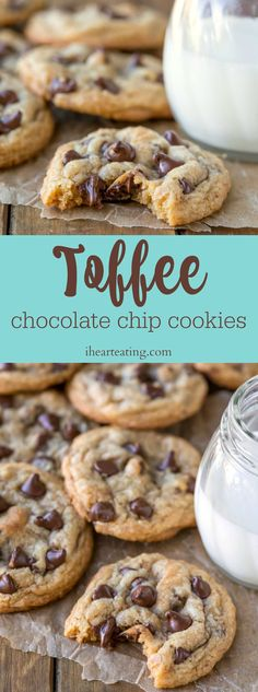 Chewy toffee chocolate chip cookies are packed with toffee pieces and chocolate chips. Easy, no mixer chocolate chip cookie recipe!