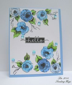 Painted Flowers - Blue by quilterlin, via Flickr