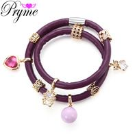 Pryme Round Pearl Charms Pendant Bracelet For Women 39CM Double Layered Wrap…