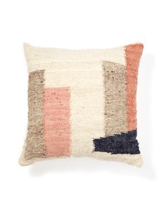 Slightly imperfect geometric forms in cool grey, pale peaches and a midnight blue make this pillow easy to incorporate into any room. The Formas series was designed to play nicely with their shaggy siblings. Pile 'em on the bed or couch.