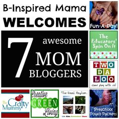 Who is your favorite mom blogger?  Meet the 7 amazing and creative mom bloggers (specializing in kids' crafts, activities, and DIY) who will be regularly contributing at B-InspiredMama.com.