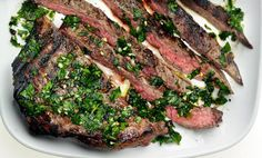 Bobby Flay's Grilled Steak with Green Chimichurri--made this tonight with organic grass fed beef and it was A-MAZING!!!!