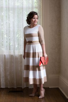 The Chic Lady Dress in Tan | Dainty Jewell's Modest Apparel | www.daintyjewells.com