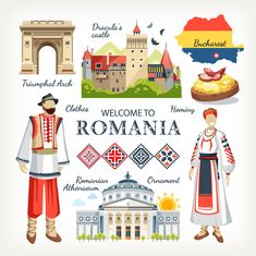 Romania collection of traditional objects symbols of country architecture food clothes , Dracula Castle, World Thinking Day, Flag Icon, Pictures Images, Map Art, Girl Scouts, Travel Posters, Clipart, Summer Fun
