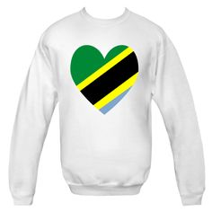 Tanzania Heart Flag Valentine ahows in vertiacla stipes of green, yellow, black and blue. $24.99 ink.flagnation.com
