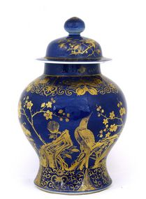 Early 20c Chinese Gilt Blue Ginger Jar Bird
