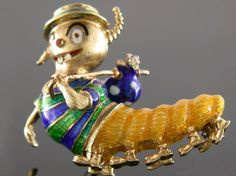 18 Karat Yellow Gold Enamel And Diamond Hobo Caterpillar Estate Pin. 3,600 USD