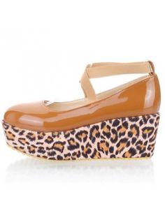 Leopard Decorated Cross Strap Apricot Platform Shoes