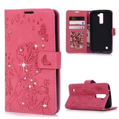 Luxury Case for LG Full Protective Stand Flip PU Leather Wallet Case Cover Glitter Bling Diamond Carved Flower Fairy Housing Leather Wallet, Pu Leather, Lg Cases, Lg K10, Fairy, Carving, Bling, Glitter, Flower