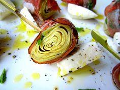 Stacey Snacks: Cicchetti: prosciutto wrapped artichokes with basil and mozzarella