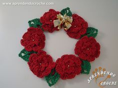 Guirlanda de Crochê Natal Floral - Decorações em Crochê - Aprendendo Croche