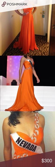 SHERRI HILL COUTURE size 4 chiffon gown SHERRI HILL COUTURE size 4 (can fit a 2) orange chiffon gown. This gorgeous and AUTHENTIC Sherri Hill Couture gown is embellished with Swarovski crystals and has flowing layers of chiffon with a back zip. Excellent condition, stored in a garment bag in a smoke free home. Gown is the exact one pictured. Sherri Hill Dresses Prom
