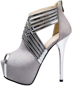 5669921283 Amazon.com   fereshte Womens Sexy Peep-Toe Ankle Strappy Platform Stiletto  High Heels Sandals Suede Gray US 11   Heeled Sandals