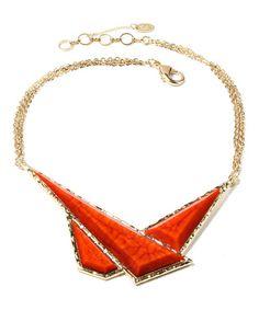 Look what I found on #zulily! Coral Geo Triangle Bib Necklace #zulilyfinds
