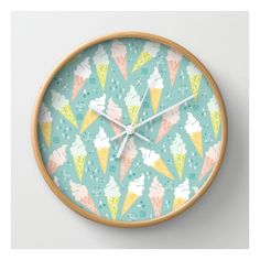 Ice Cream Cones Wall Clock ($30) ❤ liked on Polyvore featuring home, home decor, clocks, wall clocks, battery wall clocks, battery powered wall clock, round clock, battery clock and battery operated wall clock