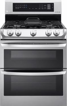LG - 6.9 Cu. Ft. Gas Self-Cleaning Freestanding Double Oven Range with ProBake Convection - Stainless Steel - Front_Zoom