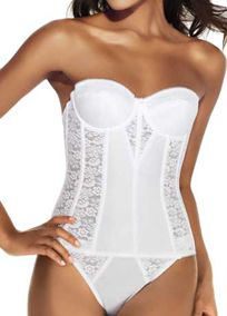Yeah, the understuff is allowed to be pretty too! Almost as important as what it's going under! #DBBridalStyle shaping longline corset-style torsolette for excellent full figure control Elegant Floral Lace & Satin design with delicate lace detailing
