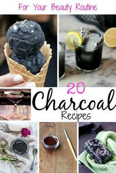 20 Charcoal Recipes to add to your beauty routine. Find recipes on drinks, body scrubs, mask, foot scrubs, ice cream and more. Charcoal Recipe, Charcoal Ice Cream, Black Ice Cream, Diy Ice Cream, Vegan Ice Cream, Nice Cream, Charcoal Mask, Smoothies, Smoothie Recipes