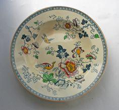 Antique Ashworth Bros. Ironestone Transfer Ware Soup Bowl. English hand coloured ceramic bowl. by gardenfullofVintage on Etsy