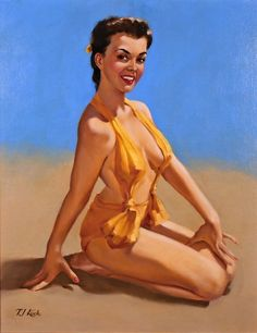"""""""Sitting Pretty"""" by T. Kuck, also known as Ted Kuck, worked as an artist for the Brown and Bigelow calendar company after World War II. Kuck lived in St. Paul, Minnesota and passed away in. Retro Art, Retro Vintage, Pin Up Illustration, Illustrations, Pin Up Drawings, Calendar Girls, Pin Up Art, Erotic Art, Figurative Art"""