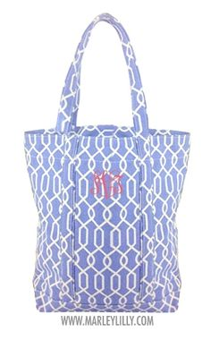 Monogrammed Cornflower Blue Loop Chain Tote