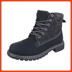 Schnürboots Damen Schuhe Combat Boots Blockabsatz Blockabsatz Schnürsenkel  Ital-Design Stiefeletten Schwarz, Gr 39 6eab517ed2