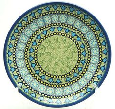 "8.5"" Salad Plate, Blue Bells pattern. Polish Pottery Outlet."