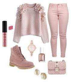 """""""Pink day"""" by aniyahg ❤ liked on Polyvore featuring Chicwish, River Island, Timberland, Essie, Maison Scotch, NYX, Kate Spade, women's clothing, women and female"""