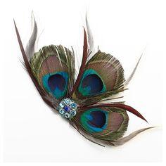 Haarclip Peacock met veren en strasssteentjes