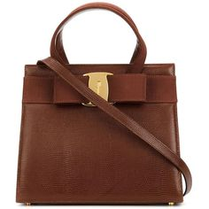 Ferragamo Vintage Vara Tote ($1,299) ❤ liked on Polyvore featuring bags, handbags, tote bags, brown, bow handbag, vintage tote, brown tote, vintage purse and vintage handbags