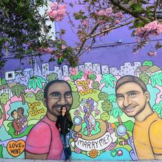 "Story of the Mural! The vibrant colors of the Castro District energize the soul! Australian artist Deb @deb painted this mural to celebrate the legalization of same-sex marriage and also to show that Love is Love independent of anything. ""Love is Love"" is the name of the mural located on Noe Street next to the Indian restaurant Kasa in the Castro District.The vibrant colors of the Castro District energize the soul! If you are in SF hop over to experience the vibrations!! . . . .  As cores…"