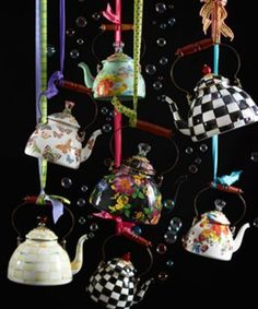 Bubbling with MacKenzie-Childs style, our teapots beautify the kitchen and will have you finding more reasons to put the kettle on to boil. Julie Wood, Mckenzie And Childs, Seasonal Decor, Holiday Decor, Flower Market, Hand Painted Ceramics, Tea Time, Tea Party, Tea Cups