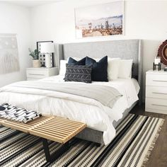 modern bedroom decor, boho bedroom design, modern boho bedroom with striped rug and boho pillows, modern artwork and nightstand styling and modern bench Cozy Bedroom, Home Decor Bedroom, Bedroom Decor For Couples Cozy, Bedroom Ceiling, White Bedroom, Royal Bedroom, Couple Bedroom, Decorating Ideas For Bedrooms, Master Bedroom Furniture Ideas