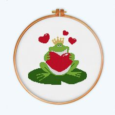 Frog Prince with Heart cross stitch modern cross by ThuHaDesign