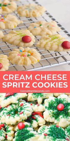 Easy Christmas Cookie Recipes, Christmas Cooking, Easy Cookie Recipes, Holiday Recipes, Easy Spritz Cookie Recipe, Easy Holiday Cookies, 13 Desserts, Holiday Baking, Christmas Desserts
