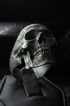 .925 Sterling Silver Full Jaw Skull Ring Vintage Blackened Style Mens Rings Handcrafted by Demitri Bakogiorgis  Contact him to purchase on Facebook https://www.facebook.com/IntoTheFireJewelry #skullrings