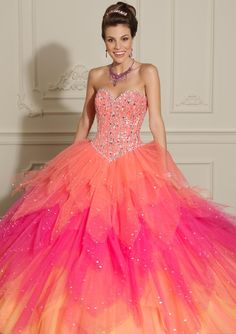 yellow quinceanera dresses | ... Floor-length Sleeveless Pink Yellow Orange Quinceanera Dresses Feature