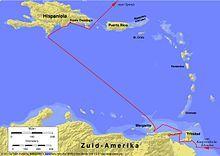 1502-1504 vierde wereldreis van Columbus. Via Santo Domingo en Islas de la Bahía en negentien schepen minder besloot Columbus de oostelijke richting te volgen, het duurde 4 maanden om panama te bereiken. Daarna zette hij koers in de richting van Hispaniola. Ze strandden op Jamaica, omdat de schepen te lek waren om verder te varen. 2 bemanningsleden gingen hulp halen en precies 1 jaar later kwam die hulp. Op 7 november 1504 kwam Columbus aan in Sanlúcar de Barrameda.