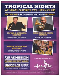 Socialfinity Marketing Group's Latino Official Spokesperson, 2013 Grammy Award Winner Marlow Rosado will be appearing at the Miami Shores Country Club on Saturday July 25, 7-11 PM, for Tropical Nights! Make your reservations now at 305-795-2371! #salsadura #salsa #music