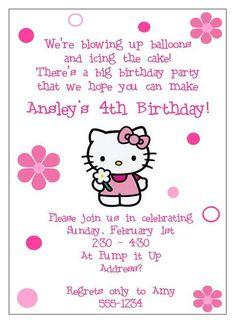 Hello Kitty Birthday Party Invitation by RSVP Custom Creations