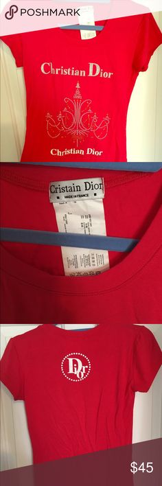 Red CD top Red CD top. Freesize. Can fit (S-M-L) Purchased from Paris 2yrs ago. NWOT. Has been lying in my closet since then. Christian Dior Tops